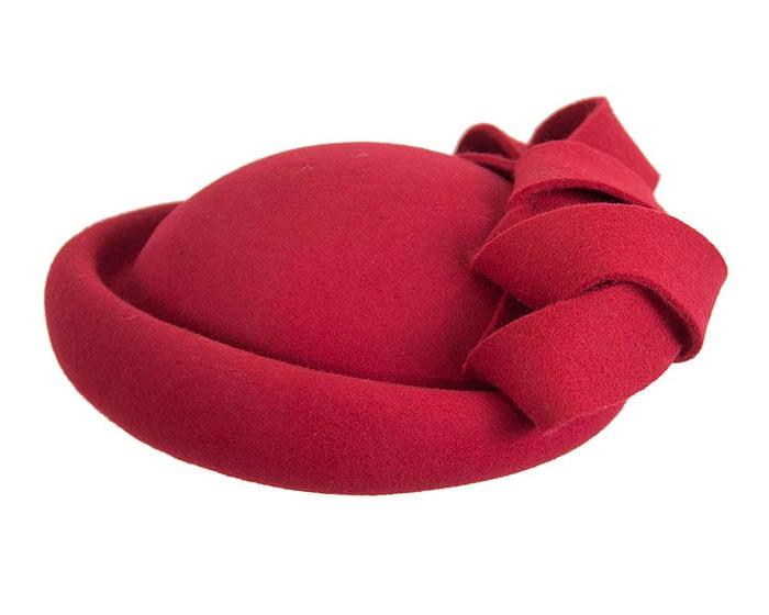 Fascinators Online - Large red felt fascinator hat by Fillies Collection 4