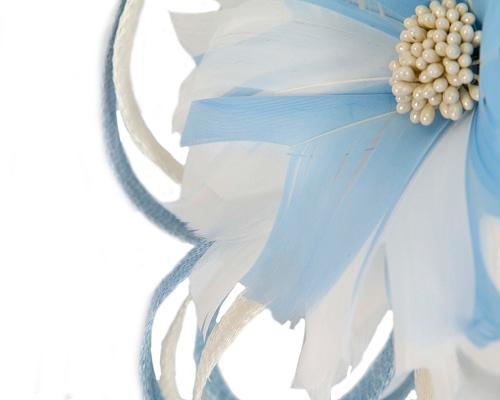 Fascinators Online - Light blue & cream feather flower fascinator headband by Max Alexander 3