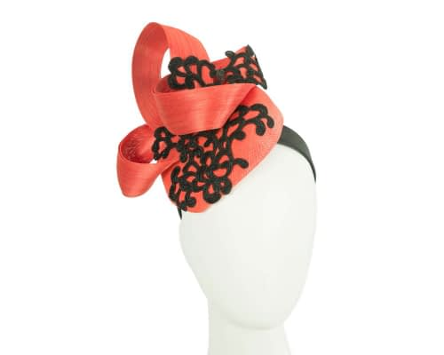 Fascinators Online - Orange pillbox fascinator with black lace by Fillies Collection 1