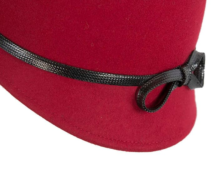 Fascinators Online - Red felt cloche hat by Max Alexander 6