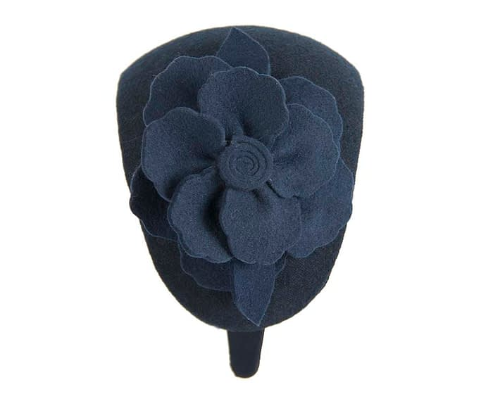 Fascinators Online - Wide headband navy winter fascinator with flower by Max Alexander 4