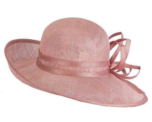 Fascinators Online - Dusty Pink ladies sinamay racing hat by Max Alexander 6