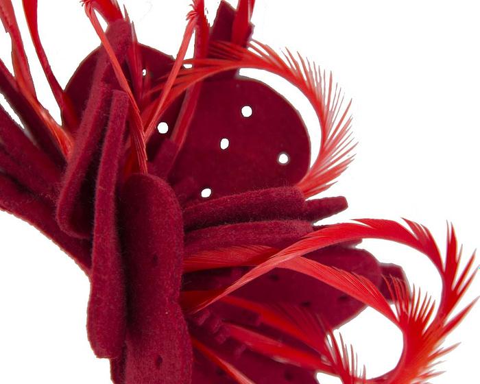 Fascinators Online - Red felt flower and feathers winter fascinator 3