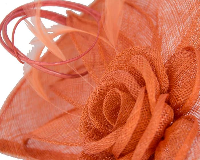 Fascinators Online - Large orange sinamay racing fascinator with feathers by Max Alexander 4