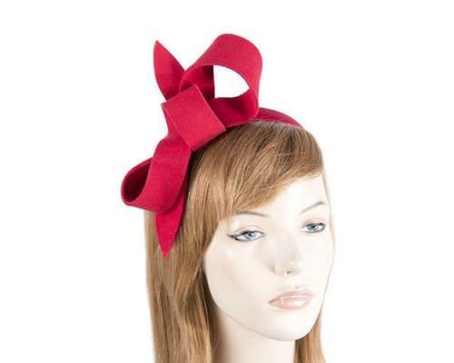 Fascinators Online - Red felt bow winter racing fascinator 10