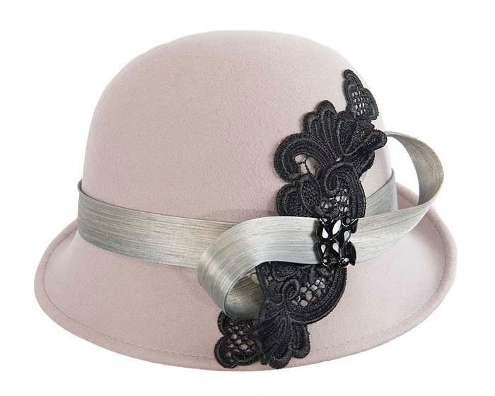 Fascinators Online - Grey autumn & winter fashion felt cloche hat by Fillies Collection 4