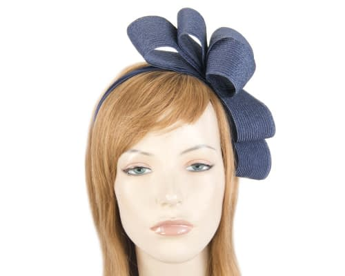 Fascinators Online - Large navy bow racing fascinator by Max Alexander 1