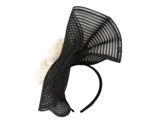 Fascinators Online - Large black racing fascinator with cream flowers by Fillies Collection 4