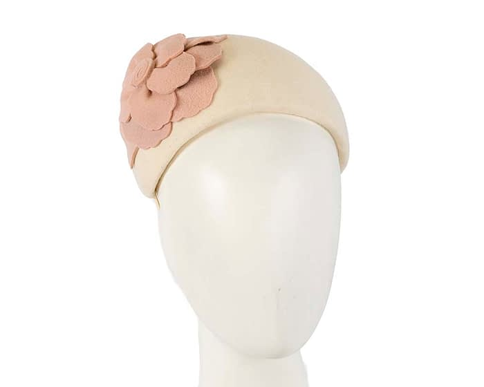 Fascinators Online - Wide headband cream winter fascinator with nude flower by Max Alexander 1