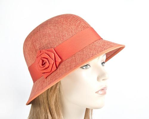 Orange cloche bucket racing hat
