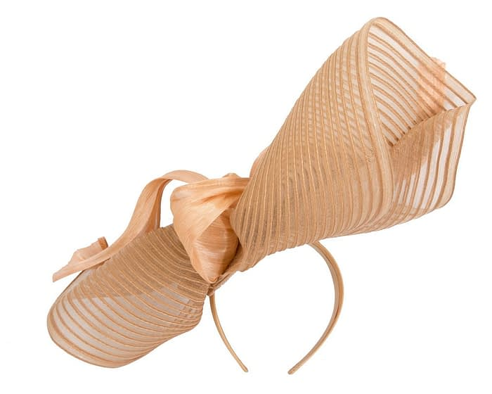 Fascinators Online - Tall Australian Made gold racing fascinator by Fillies Collection 4