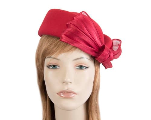 Fascinators Online - Red felt ladies fashion beret hat with bow by Fillies Collection 2
