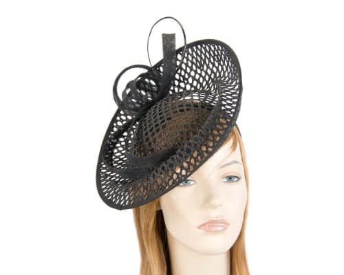 Fascinators Online - Large black mesh plate fascinator by Max Alexander 1