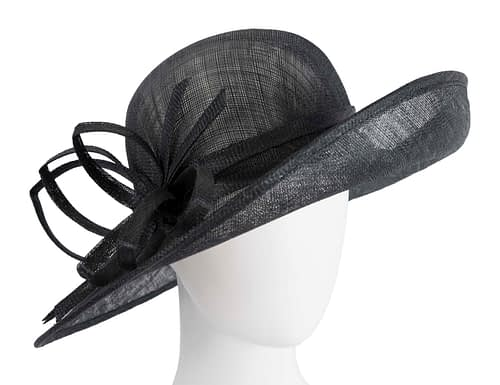 Fascinators Online - Black ladies sinamay racing hat by Max Alexander 1