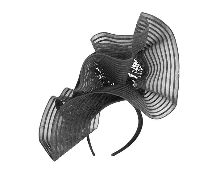 Fascinators Online - Large black racing fascinator with lace by Fillies Collection 4