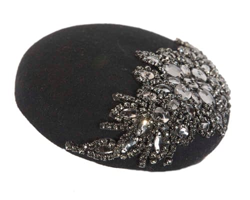 Fascinators Online - Black round pillbox with jewels 2