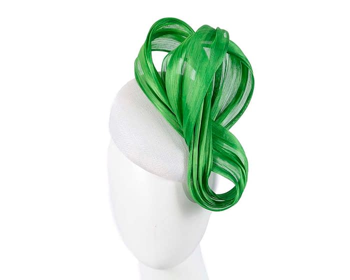 Fascinators Online - White pillbox with lime bow by Fillies Collection 1