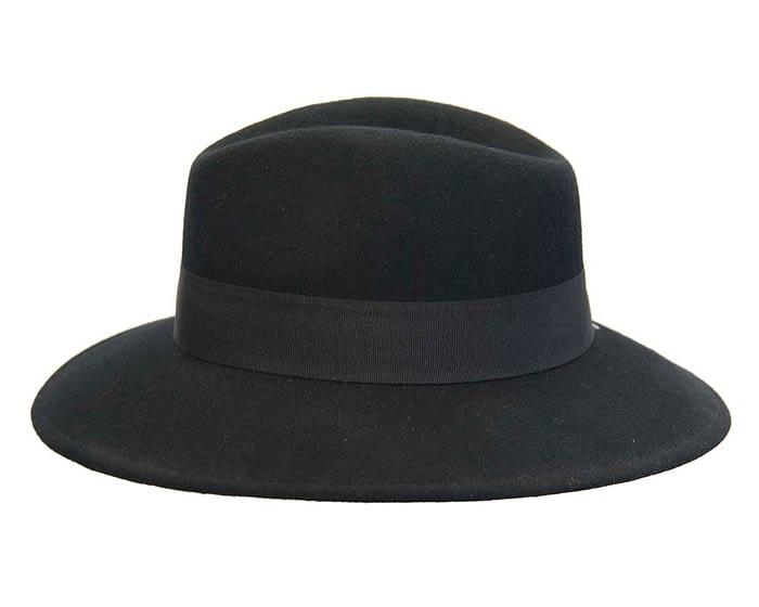 Fascinators Online - Wide brim black felt fedora hat by Max Alexander 3