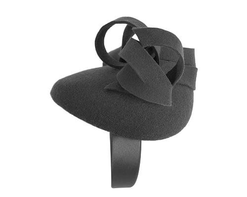 Fascinators Online - Unusual black felt pillbox fascinator by Fillies Collection 4