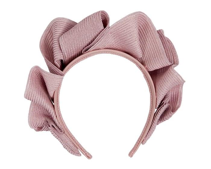 Fascinators Online - Dusty pink PU leather crown fascinator by Max Alexander 4