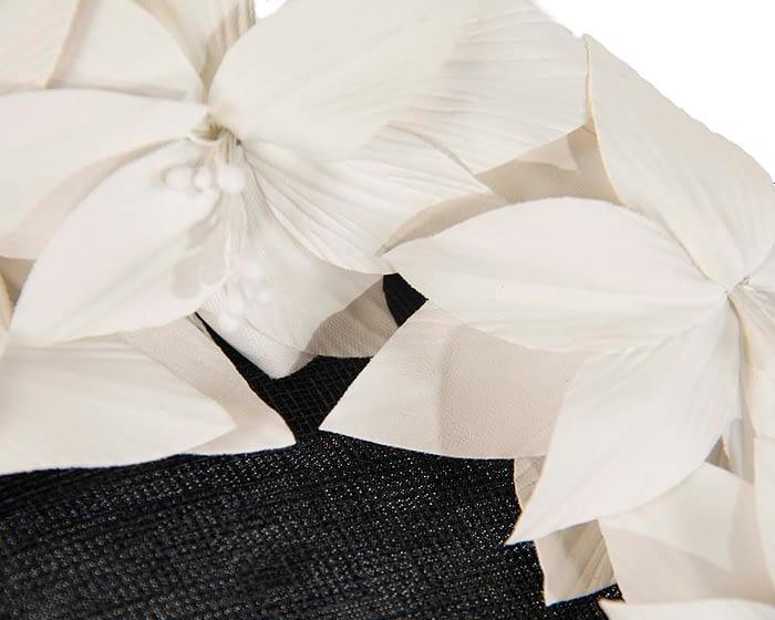 Fascinators Online - Black & cream leather flower pillbox fascinator by Fillies Collection 5