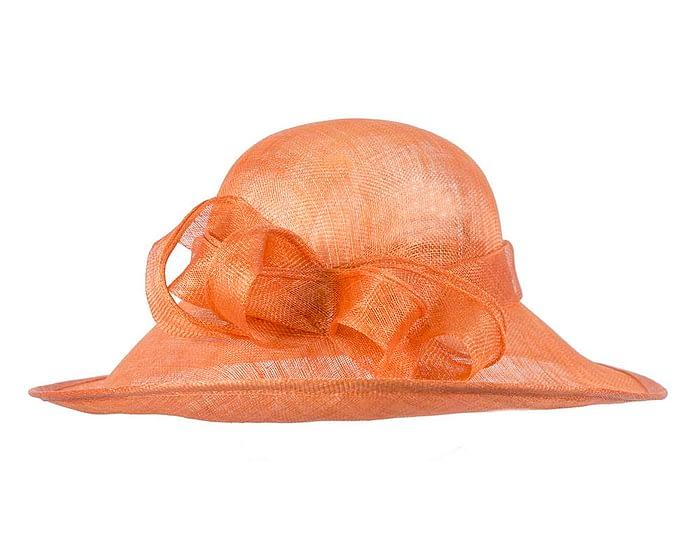 Fascinators Online - Wide brim orange sinamay racing hat by Max Alexander 4
