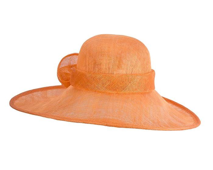 Fascinators Online - Wide brim orange sinamay racing hat by Max Alexander 6