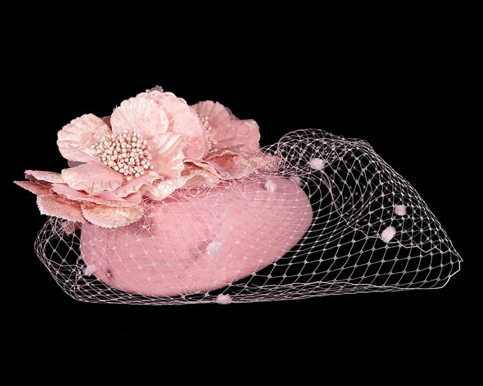 Fascinators Online - Pink Australian Made winter pillbox by Fillies Collection 3