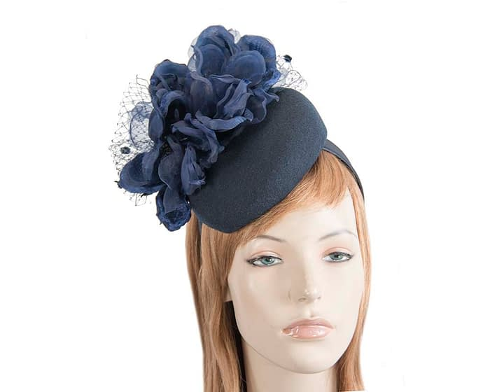 Fascinators Online - Navy pillbox fascinator with flower by Fillies Collection 1