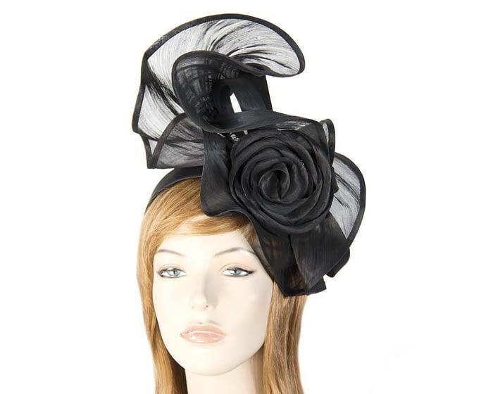 Fascinators Online - Black sculptured silk abaca fascinator by Fillies Collection 1