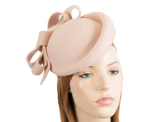 Fascinators Online - Large nude felt fascinator hat by Fillies Collection 103