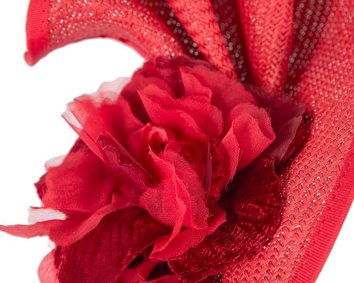 Fascinators Online - Bespoke large red flower fascinator by Fillies Collection 3