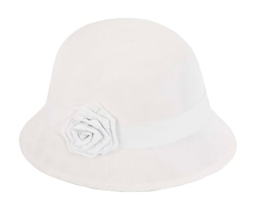 Fascinators Online - White spring racing bucket hat by Max Alexander 2