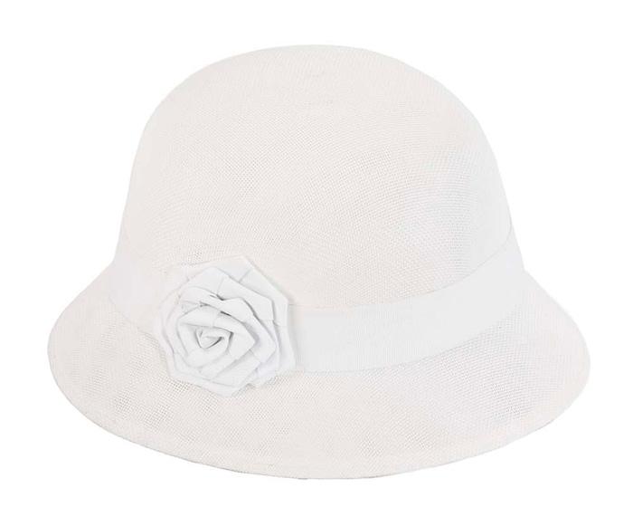 Fascinators Online - White spring racing bucket hat by Max Alexander 2