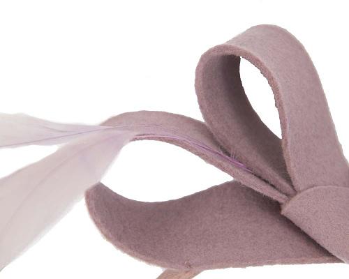Fascinators Online - Dusty pink felt bow winter fascinator 4