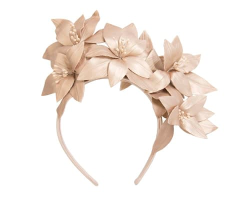 Fascinators Online - Gold leather flower headband by Fillies Collection 2
