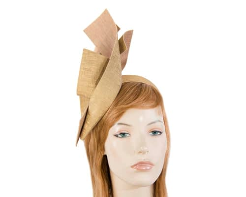 Fascinators Online - Bespoke gold leather racing fascinator 26