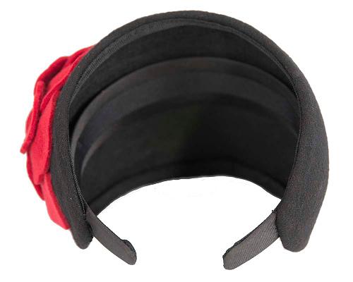 Fascinators Online - Wide headband black winter fascinator with red flower by Max Alexander 5