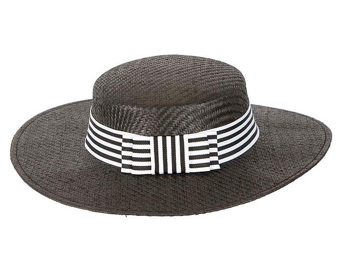 Fascinators Online - Black & white boater hat by Max Alexander 4