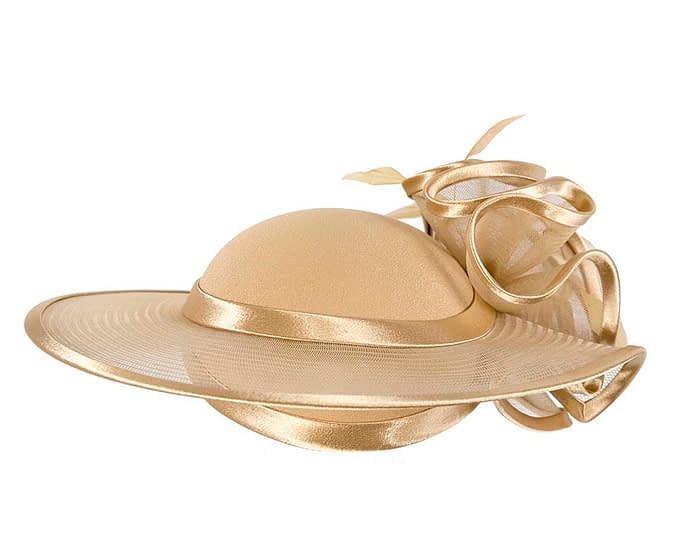 Fascinators Online - Gold custom made Mother of the Bride hat by Cupids Millinery 7