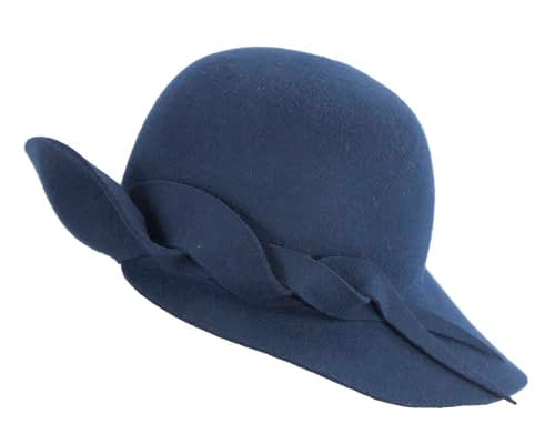 Fascinators Online - Unusual navy felt wide brim hat by Max Alexander 2