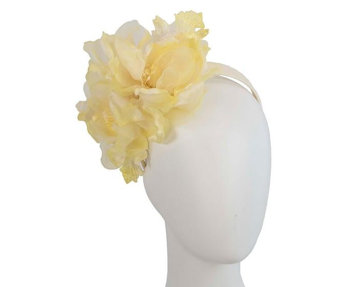 Fascinators Online - Light Yellow Silk Flower Fascinator by Fillies Collection 1