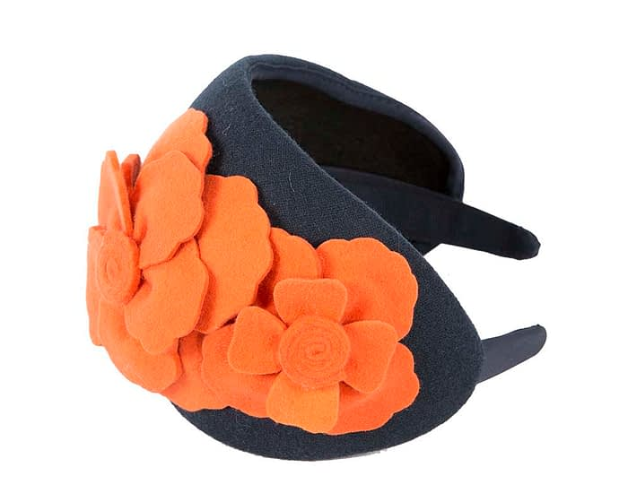 Fascinators Online - Wide headband navy winter fascinator with orange flowers by Max Alexander 2