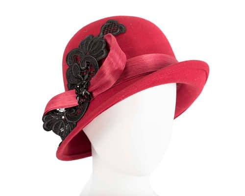 Fascinators Online - Red autumn & winter fashion felt cloche hat by Fillies Collection 14