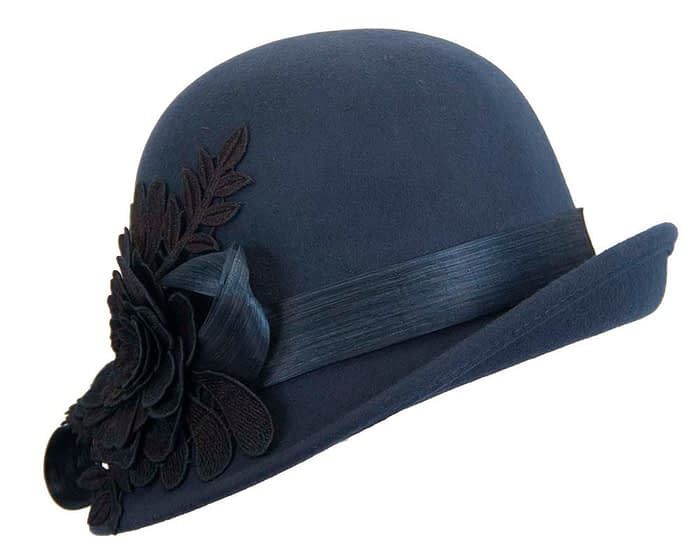 Fascinators Online - Exclusive navy felt cloche hat with lace by Fillies Collection 3