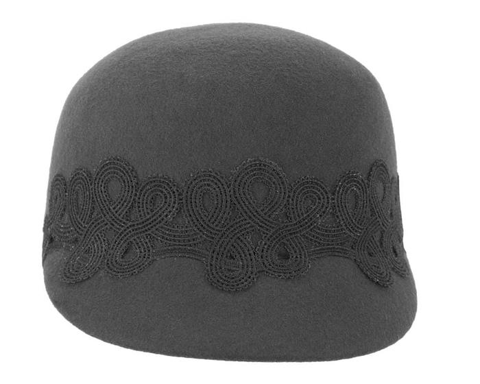 Fascinators Online - Black felt ladies cap with lace 4