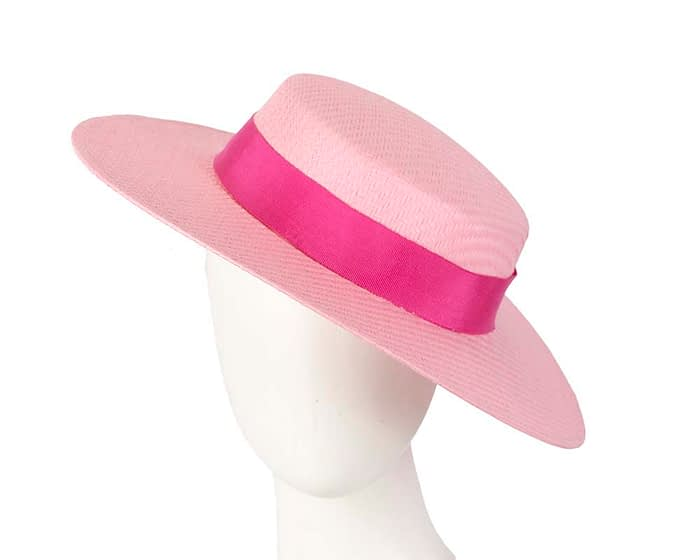 Fascinators Online - Pink boater hat by Max Alexander 1