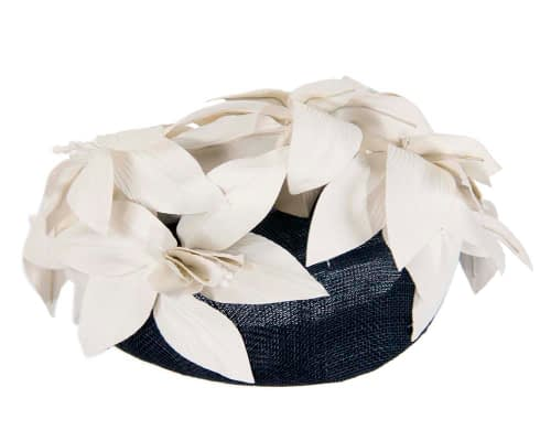 Fascinators Online - Navy & cream leather flower pillbox fascinator by Fillies Collection 6