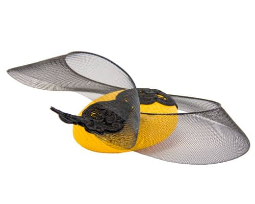 Fascinators Online - Yellow & Black designers fascinator 4