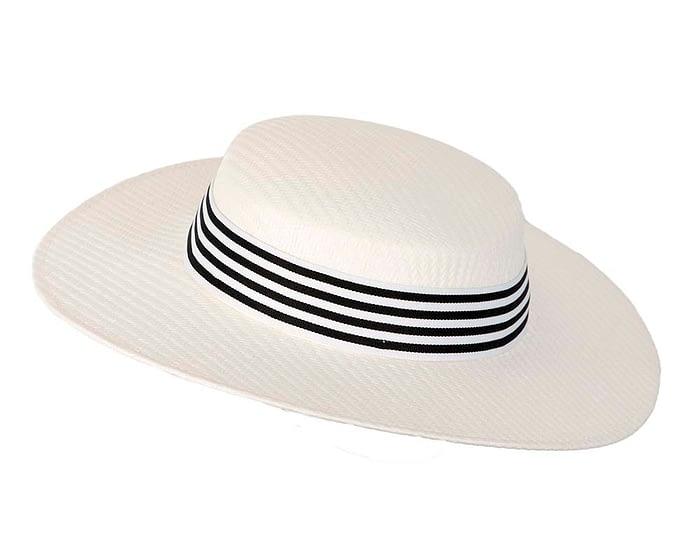 Fascinators Online - White & black boater hat by Max Alexander 2